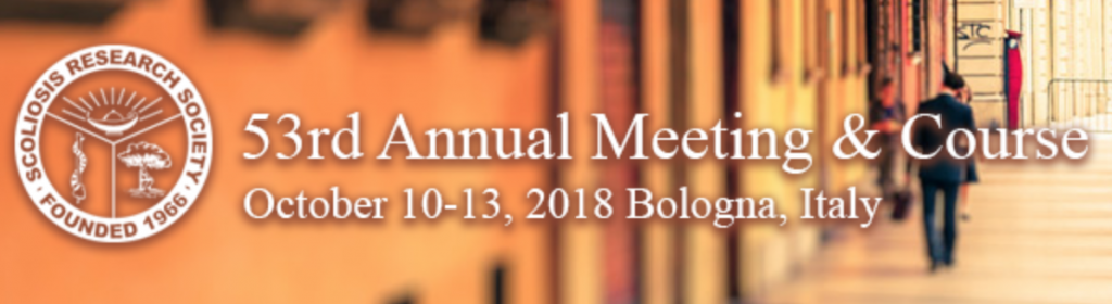 53rd Annual Meeting & Courses, Scoliosis Research Society, Bologna, Italy, 2018